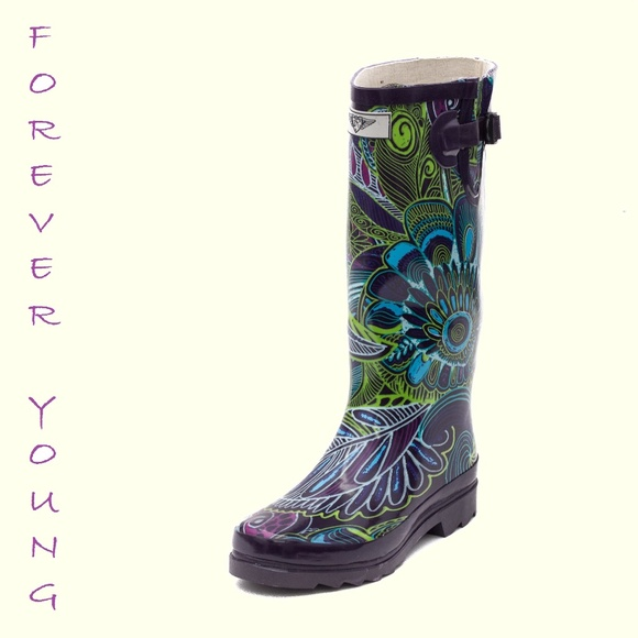 Forever Young Shoes Women Tall Patterned Rain Boots 60 Bloom Inspiration Patterned Rain Boots